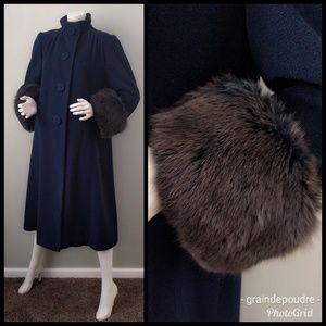 VTG Pauline Trigere Blue Fox Cuff Swing Coat M L